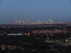 The Sydney city centre from the city's western suburbs.