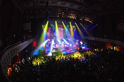 The stage of the Tabernacle during a live performance by the band STS9