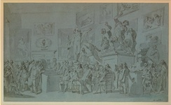 Study for Henry Singleton's painting The Royal Academicians assembled in their council chamber to adjudge the Medals to the successful students in Painting, Sculpture, Architecture and Drawing, which hangs in the Royal Academy. Ca. 1793.