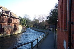 """The Weirs"" on the Itchen in Winchester."