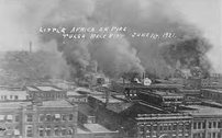 Buildings burning during the Tulsa race riot of 1921