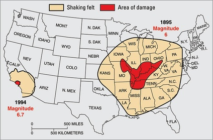 Differences in the crust underlying North America east of the Rocky Mountains makes that area more sensitive to earthquakes. Shown here: the 1895 New Madrid earthquake, M ~6, was felt through most of the central U.S., while the 1994 Northridge quake, though almost ten times stronger at M 6.7, was felt only in southern California. From USGS Fact Sheet 017-03.