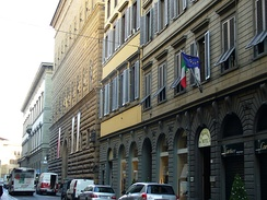 The Via de' Tornabuoni in Florence, the city's top fashion and shopping street, contains some of the world's most luxurious clothing and jewelry houses, such as Cartier, Ferragamo, Gucci, Versace and Bulgari.