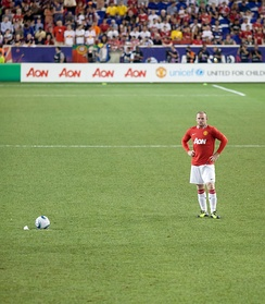 Rooney preparing to take a free kick for Manchester United vs MLS All Stars at the Red Bull Arena in New Jersey, July 2011