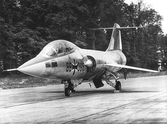 A German F-104F in 1960. In 1962 this aircraft crashed along with three others after a pilot error.