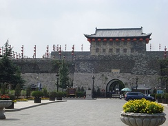 Zhonghua Gate is the south gate of the walled city of Nanjing. The city wall was built in the 14th century and is the longest in the world.