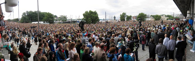 Flower march in Sentrum, Oslo, on 25 July 2011 in the aftermath of the attacks. An estimated 200,000 attended the flower march.
