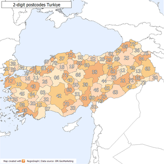 2-digit postcode areas Turkey(defined through the first two postcode digits)