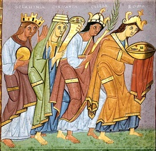 An early example of National personification in a gospel book dated 990: Sclavinia, Germania, Gallia, and Roma, bringing offerings to Emperor Otto III.