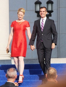 Garcetti and his wife, Amy Elaine Wakeland, on June 30, 2013.