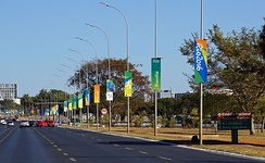 2016 Summer Olympics livery near Estádio Nacional Mané Garrincha, Brasília, venue for several matches.
