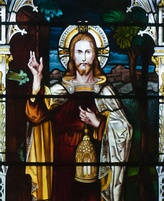 "Stained glass of Jesus as ""Light of the World"", Church of St. Brendan, Bantry, Ireland."