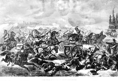 The Prussian 7th Cuirassiers charge the French guns at the Battle of Mars-La-Tour, August 16, 1870