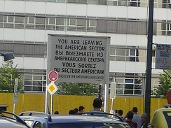 A You Are Leaving sign at a border of the American sector