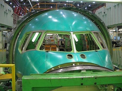 Assembly of a Boeing 767 nose section