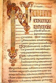 The beginning of the Gospel of Mark from the Book of Durrow.