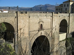 The Puente Nuevo bridge, Ronda. Both Nationalists and Republicans are claimed to have thrown prisoners from the bridge to their deaths in the canyon.[404]