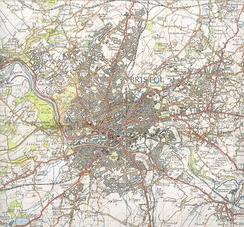 An old ordnance survey map of Bristol, showing roads, railways, rivers and contours.