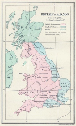 Britain in AD 500: The areas shaded pink on the map were inhabited by the Britons, here labelled Welsh. The pale blue areas in the east were controlled by Germanic tribes, whilst the pale green areas to the north were inhabited by the Gaels and Picts.