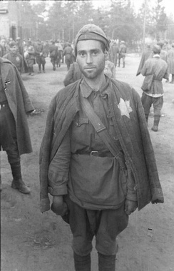 Jewish Soviet soldier taken prisoner by the German Army, August 1941. At least 50,000 Jewish soldiers were shot after selection.[103]