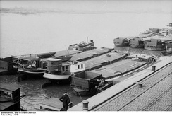 Invasion barges assembled at the German port of Wilhelmshaven.