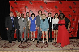The casts of Parks and Recreation, Portlandia, and Game of Thrones at the 71st Annual Peabody Awards inside the Waldorf Astoria. From left to right: Jim O'Heir, Nick Offerman, Aziz Ansari, Adam Scott, Carrie Brownstein, Nikolaj Coster-Waldau, Amy Poehler, Fred Armisen, Aubrey Plaza, and Retta