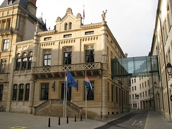 The Hall of the Chamber of Deputies, the meeting place of the Luxembourgish national legislature, the Chamber of Deputies, in Luxembourg City