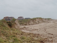 Beach erosion caused by Claudette
