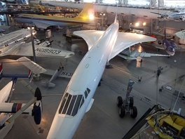Aerial view of Air France Concorde F-BVFA at the Steven F. Udvar-Hazy Center in Virginia