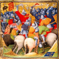 Battle of Crécy, 1346, from the Grandes Chroniques de France. British Library, London.