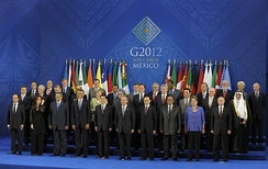 Mariano Rajoy in a G-20 Summit in Mexico. Spain is a permanent guest of the G-20.