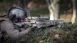 HK417 16″ 'Recce' paired with Schmidt & Bender 3–12×50 PM II used by a Netherlands Maritime Special Operations Forces (NLMARSOF) sniper.