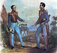 "The ""Guayaquil Conference"" was the meeting between the two main Hispanic South American independence leaders. In it the form of government of the nascent countries was discussed, San Martín opted for a unified South America in the form of a monarchy, while Bolívar opted for the same but into a republic. 1843 painting."