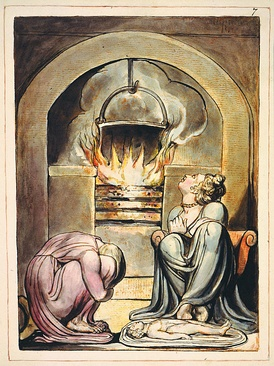 A cauldron over a fire in William Blake's illustrations to his mythical Europe a Prophecy first published in 1794. This version of the print is currently held by the Fitzwilliam Museum