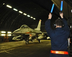 General Dynamics F-16C Block 50D Fighting Falcon 91-0361 taxiing out from at Tab-Vee at Spangdahlem on 20 March 2011 in support of Operation Odyssey Dawn