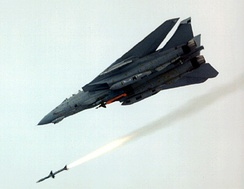 An F-14D launching an AIM-7 Sparrow; a GBU-10 Paveway II is also carried.