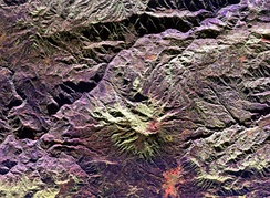 Space radar image of Galeras Volcano. City of Pasto at bottom