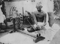 Mahatma Gandhi, leader of the Indian independence movement and advocate of nonviolent resistance.
