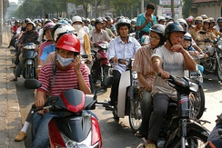 Motorbike drivers on the streets of central Ho Chi Minh City.