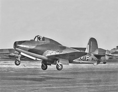 The Gloster E28 taking off