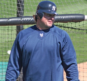 Giambi, as a member of the New York Yankees, during spring training in 2007
