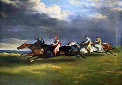 Flying gallop as shown by this painting (Théodore Géricault, 1821) is falsified; see image below