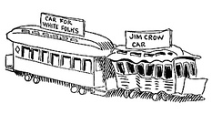 "1904 caricature of ""White"" and ""Jim Crow"" rail cars by John T. McCutcheon. Despite Jim Crow's legal pretense that the races be ""separate but equal"" under the law, non-whites were given inferior facilities and treatment.[29]"