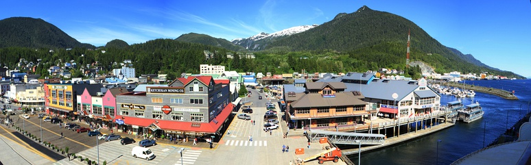 Downtown Ketchikan, with seasonal storefronts along Front Street shown in the foreground.  Cruise ship tourism drives a large part of the local economy from May to September each year.