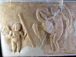 Leda and the swan, with a Cupid in attendance (4th-century Roman relief)