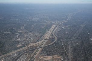 Aerial view of the I-105/I-710 interchange