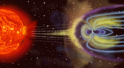 Artist's depiction of solar wind particles interacting with Earth's magnetosphere. Sizes are not to scale.