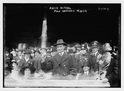 John Purroy Mitchel, the Mayor of New York throwing out the ceremonial first pitch at the Opening Day game of the 1916 New York Giants season at the Polo Grounds on April 20, 1916