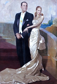 Official presidential portrait of Juan Domingo Perón and his wife Eva Perón, 1948