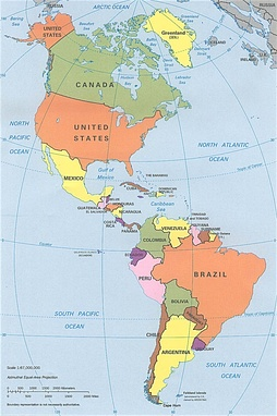 CIA political map of the Americas in Lambert azimuthal equal-area projection
